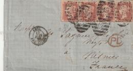 Storia Postale Gran Bretagna UK Busta Viaggiata Pluriaffrancata Con Penny Rosso - 1840-1901 (Regina Victoria)