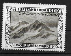 Deutsches Reich Wohlfahrtsmarke Luftfahrerdank  Gross Glockner Vignet Werbemarke Cinderella Advertisement Label Aviation - Fantasy Labels