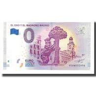Espagne, Billet Touristique - 0 Euro, Spain - Madrid - La Statue De L'Ours Et De - España
