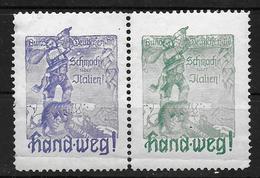 Deutsches Reich WW1 WK1  Schmach Italien Vignet Werbemarke Cinderella Advertisement Propaganda - Fantasy Labels
