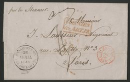 """Lettre Datée De CAPESTERRE Le 20/4/1845 + C-à-d """"BASSE TERRE (GUADELOUPE) 26/4/45 + Cachet D'entrée. Lire Description - 1801-1848: Vorläufer XIX"""