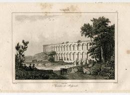 Antique Aqueduct Bridge Belgrade Architecture Ottoman Turkish Empire Turkey Antique Engraving 1840 - Estampas & Grabados