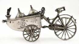 Ezüst(Ag) Miniatűr Biciklis Kocsi, Jelzett, 10×4 Cm, Nettó: 65,4 G - Sin Clasificación