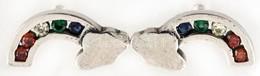 Ezüst(Ag) Szivárványos Fülbevalópár, Jelzett, 1,4×0,7 Cm, Bruttó: 1,6 G - Sin Clasificación