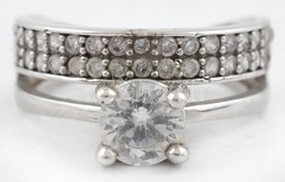 Ezüst(Ag) Dupla Gyűrű, Kövekkel, Jelzett, Méret: 54, Bruttó: 3,6 G - Sin Clasificación