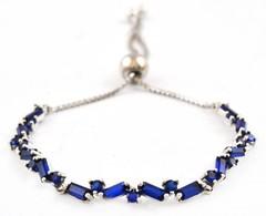 Ezüst(Ag) Kék Kövekkel Díszített Karkötő, állítható Hosszúság, Pandora Jelzéssel, Max. H: 21 Cm, Bruttó: 6,4 G - Sin Clasificación