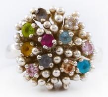 Ezüst(Ag) Extravagáns Gyűrű, Színes Kövekkel, Jelzett, Méret: 54, Bruttó: 8,2 G - Sin Clasificación
