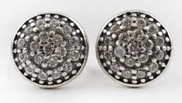 Ezüst(Ag) Fülbevalópár, Apró Kövekkel, Jelzett, D: 0,8 Cm, Bruttó: 1,8 G - Sin Clasificación