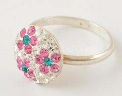 Ezüst(Ag) Apró Kövekkel Kirakott Virágmintás Gyűrű, Jelzett, Méret: 51, Bruttó: 1,6 G - Sin Clasificación