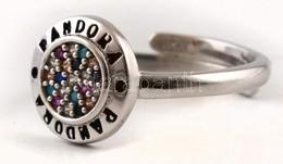 Ezüst(Ag) Apró Kövekkel Díszített, állítható Gyűrű, Pandora Jelzéssel, Bruttó: 3,5 G - Sin Clasificación