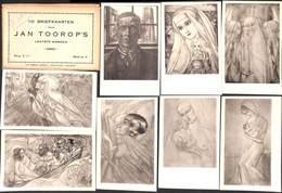 Jan Toorop's - Lot 12 Postcards (+mapje) - Pintura & Cuadros