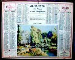 CALENDRIER 1936 DE LA POSTE PAYSAGE DE LA SARTHE COMPLET DES FEUILLETS  BEL ETAT - Calendars