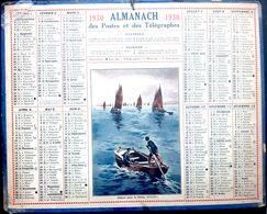 CALENDRIER 1930 DE LA POSTE DEPART POUR LA PECHE  COMPLET DES FEUILLETS  BEL ETAT - Calendars