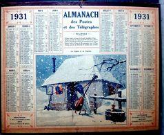 CALENDRIER 1931 DE LA POSTE LA CIGALE ET LA FOURMI COMPLET DES FEUILLETS  BEL ETAT - Calendars