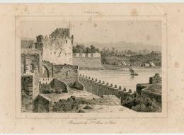 Fortress Castle St. Jean D'Acre Acre Israel Architecture Ottoman Turkish Empire Turkey Antique Engraving 1840 - Estampas & Grabados