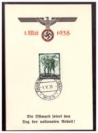 Dt- Reich (006418) Propaganda Gedenkblatt Die Ostmark Feiert Den Tag Der Nationalen Arbeit! 1.Mai 1938 Gestempelt Wien - Germania