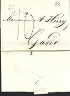 24 MAI 1816  London Naar Gent Blauwe Cursive : ANGLETERRE PAR OSTENDE  Port 10 Déc. + 1/4 Maritime Mail   Herlant 49 - 1815-1830 (Dutch Period)