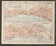 CARTE PLAN 1931 - LA BAULE OUEST LA BAULE EST - NOMBREUX HOTELS TENNIS DES DUNES THÉATRE DE VERDURE - Cartes Topographiques