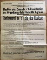 1952 ELECTION DES CONSEILS D'ADMINISTRATION DES ORGANISMES DE LA MUTUALITE AGRICOLE / PREFECTURE DE LA SEINE    N11 - Afiches