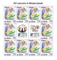 ANGOLA - 2019 - Mahatma Gandhi, 150th Birth Anniv, INPEX -  Perf 10v Sheet - M N H. - Angola
