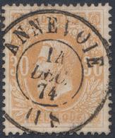 """émission 1869 - N°33 Obl Double Cercle """"Annevoie"""". Superbe / Collection Spécialisée - 1869-1883 Leopold II."""
