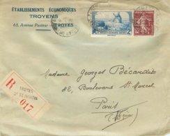 """SUR LETTRE - 1938 - TIMBRE PERFORE """"E.E.T."""" =  - TROYESETABLISSEMENTS ECONOMIQUES TROYENS - TROYES (10 - AUBE) - France"""