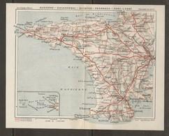 CARTE PLAN 1931 - BRETAGNE GRANDS ITINÉRAIRES - AUDIERNE DOUARNENEZ QUIMPER PENMARCH PONT LABBÉ - Topographical Maps