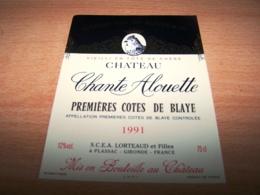 Etiquette Vin Wine Label Oiseau Alouette Skylark Alondra Lerche Allodola Blaye 1991 Chante Lorteaud Plassac - Plumes