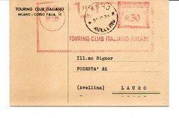 1936 EMA Affrancatura Meccanica Rossa Freistempel Milano Touring Club Italiano Associazione Turistica - Machine Stamps (ATM)