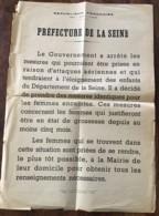 AFFICHE PREFECTURE DE LA SEINE / ATTAQUES AERIENNES / ELOIGNEMENT FEMMES ENCEINTES / 2EME GUERRE  N11 - Afiches