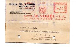 1938 EMA Affrancatura Meccanica Rossa Freistempel Milano Ditta W. Vogel Macchine Utensili Attrezzature E Metalli - Machine Stamps (ATM)