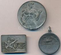 """3db-os Vegyes Tétel, Benne 2db Tőr Díjérem, Egyik Füllel, Illetve Belgium 1958. """"Hongrie (Magyarország)"""" Fém Jelvény T:2 - Coins & Banknotes"""