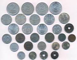 ~1940-1950. 29db Vegyes Magyar és Külföldi Fémpénz, Közte 1947. 2Ft Al T:vegyes, Közte 1- Is - Coins & Banknotes