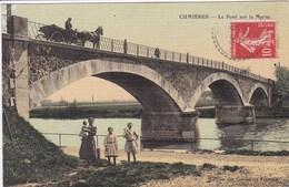 51 CUMIERES Le Pont Sur La Marne ,attelage Calèche ,femmeavec Enfants Sous Le Pont ,carte Colorisée Toilée - France