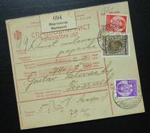 Yugoslavia 1936 Parcel Card From Martonos Serbia To Tovarnik Croatia B7 - 1931-1941 Kingdom Of Yugoslavia