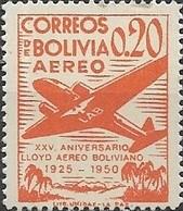 BOLIVIA 1950 Air. 25th Anniversary Of Lloyd Aereo Boliviano - 20c Douglas DC-2 MH - Bolivie