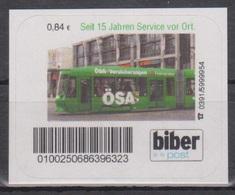 Moderne Privatpost: Biber Post Magdeburg 2007: 15 Jahre ÖSA (Versicherung). 1 Wert Personalisierte Ausgabe Postfrisch - Tramways
