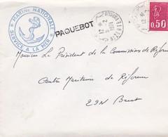 """BA / Enveloppe MARCOPHILIE Bizerte 1971 Cachets """"Marine Nationale Service à La Mer""""+ """"PAQUEBOT"""" + Au Dos """"Paris-Naval"""") - Zonder Classificatie"""
