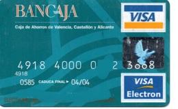 Bank Spain Credit Card BANCAJA Visa - Electron - Master Card - Tarjeta De Credito - Credit Cards (Exp. Date Min. 10 Years)