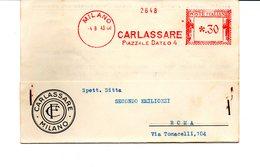 1943 EMA Affrancatura Meccanica Rossa Freistempel Milano CARLASSARE Materiale Ortopedico - Machine Stamps (ATM)