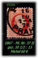 Österreich - Mi. Nr. 37 II - Gez. 10 1/2 : 13 In Sauber Gebraucht - - Gebraucht