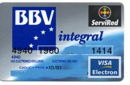 Bank Spain Credit Card BBV INTEGRAL  Visa - Electron - Master Card - Tarjeta De Credito - Cartes De Crédit (expiration Min. 10 Ans)