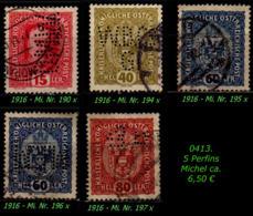 Österreich - Aus Mi. Nr. 185 - 90  In Gebraucht - 5 Perfins - Gebraucht