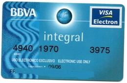 Bank Spain Credit Card BBVA INTEGRAL  Visa - Electron - Master Card - Tarjeta De Credito - Cartes De Crédit (expiration Min. 10 Ans)