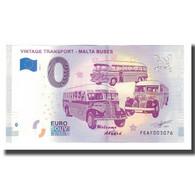 Malte, Billet Touristique - 0 Euro, Malta - Vintage Transport - Malta Buses - Jetons & Médailles