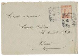 IB101   Regno 1917- Annullo Tondo Riquadrato Ponte Caffaro Su Busta Per Milano 20c Vitt. Emanuele - Marcofilie