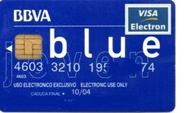 Bank Spain Credit Card BBVA BLUE NOT FINE  Visa - Electron - Master Card - Tarjeta De Credito - Cartes De Crédit (expiration Min. 10 Ans)