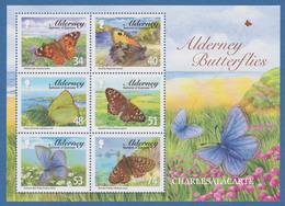 ALDERNEY AURIGNY 2008  BUTTERFLIES  M.S. S.G. MS 335  U.M.  N.S.C. - Alderney