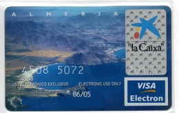Bank Spain Credit Card CAIXA ALMERIA   Visa - Electron - Master Card - Tarjeta De Credito - Cartes De Crédit (expiration Min. 10 Ans)