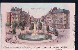 Allemagne, Gruss Aus  Köln, Hohenstaussenring, Carte Litho Ajourée Avec Effet De Lumière (30.8.1900) - Contraluz